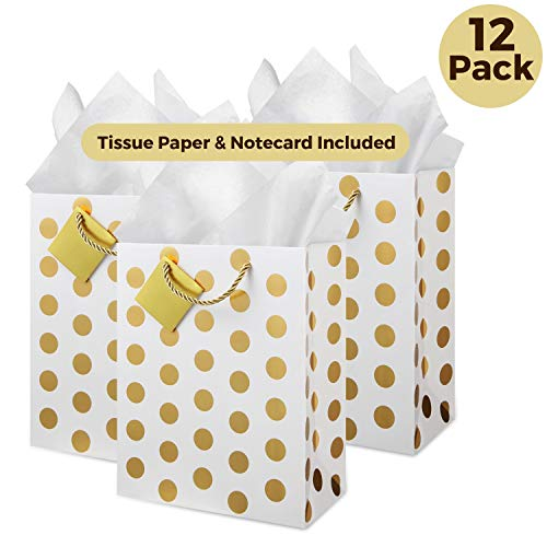 Gift Foil Bags - Deluxe Gold Gift Bags Set: (Medium, Bulk Set of 12), Includes Tissue Paper and Note Card, Bridal Party Favor Bag, Bridesmaid, Wedding Welcome Gift Bag, Baby Shower