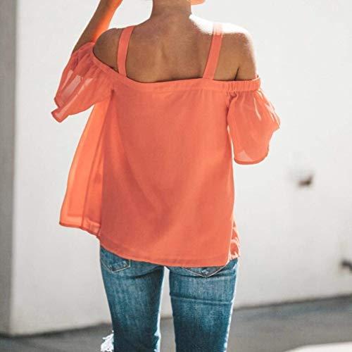 Cou Uni T Nues Chic Shirts Femme Orange Manche Confortable paules Mode Elgante Casual lastique Manches Tshirt Sling Et Nu Tops Dos Top Courtes V 66q8xfw