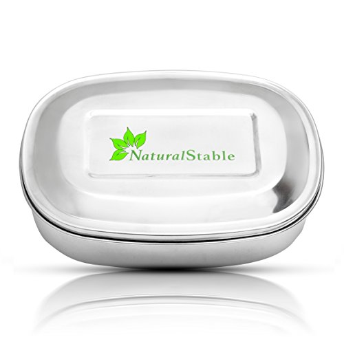 Stainless Steel Lunch Box - Bento Lunchbox for Kids or Adults - 550ml , 1L Sizes With Compartments - 100% Eco friendly - Dishwasher Safe- No Rusting - 100% BPA Free - 3 E-books Included by NaturalStable