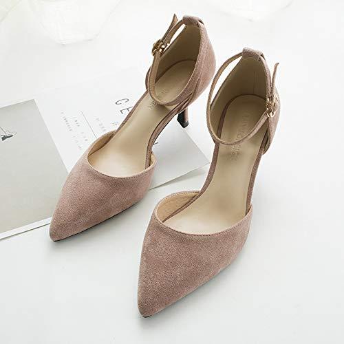pour Pink 39 Un GUANG Talon Chaussures 35 XING à à Bouton Unique Pink Femme A8qY7qxdOw