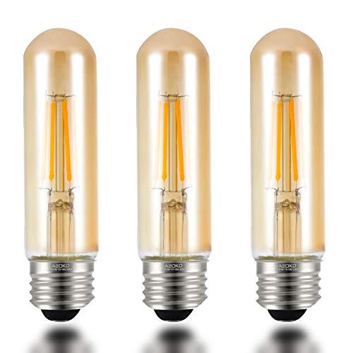 T10 LED Bulbs 2200K Warm White, 4W Amber Colored Tubular Edison Light Bulbs, E26 Medium Base,40 Watt Equivalent, Dimmable Tube Vintage Led Bulbs, LED Filament Bulb for Desk Lamp, Display Pendant Light