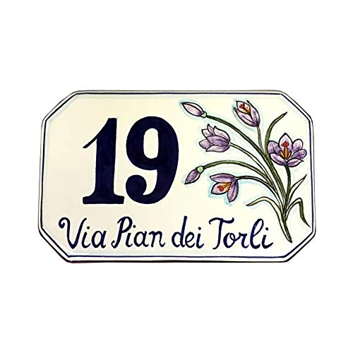 CERAMICHE D'ARTE PARRINI - Italian Ceramic Art Pottery Tile Custom House Number Civic Address Plaques Decorated Mountain Flowers Hand Painted Made in ITALY Tuscan