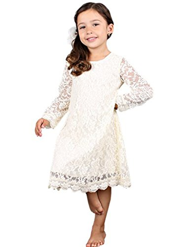Bow Dream Flower Girl's Dress Ivory Cream 5 (Girl Lace Dress Flower)