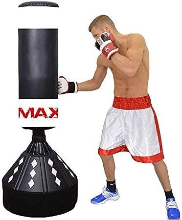 MAXSTRENGTH - Saco de boxeo de pie de 1,82 m, resistente y con soporte para objetivos, ideal para boxeo, boxeo y artes marciales: Amazon.es: Deportes y aire libre