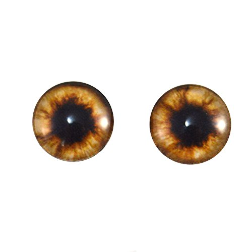 14mm Pair of Brown Teddy Bear Glass Eyes for Jewelry Making, Dolls, Sculptures, More