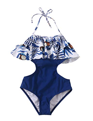 Bikini Dot Halter - Girls Swimsuit Falbala High Waisted Bikini Set Halter Neck Swimwear Dots Printing Bathing Suits