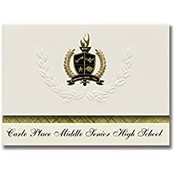 Signature Announcements Carle Place Middle Senior High School (Carle Place, NY) Graduation Announcements, Presidential Basic Pack 25 with Gold & Black Metallic Foil seal