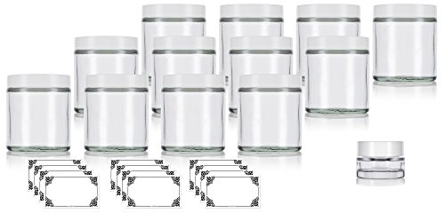 Clear Thick Glass Straight Sided Jar with White Smooth Lids - 4 oz / 120 ml (12 pack) + Labels + Small Glass Balm Jar