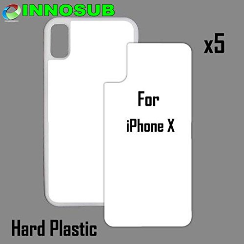 Case White Plastic (5 x Apple iPhone X-Plastic-White - blank dye case + inserts for dye Sublimation phone cover / blank Printable case, Made by INNOSUB USA)