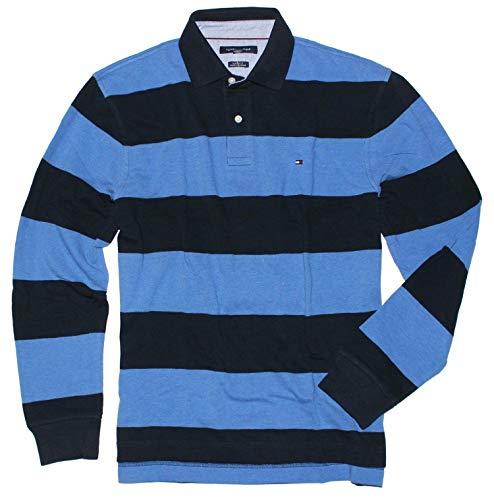 Tommy Hilfiger Mens Long-Sleeve Classic-Fit Polo Shirt (M, Navy Stripe) (Hilfiger Tommy Shirt Stripe)