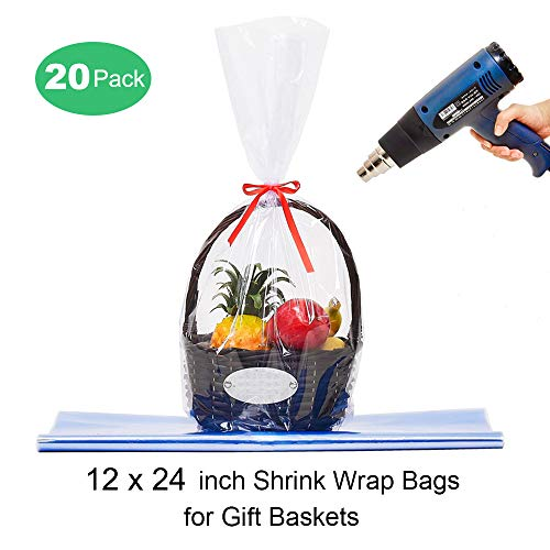 LazyMe Clear Basket Cellophane Bags PVC Heat Shrink Wrap Bags for Gift and Easter Basket, 12×24 inch (20 pcs)