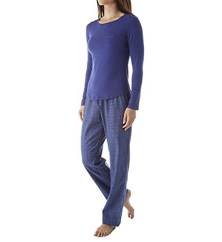 Calvin Klein Women's Sleepwear Set, Rainstorm/Tiny Leopard, Medium