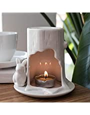 Kamenda White Ceramic Scented Candle Holders Incense Essential Oil Lamp Tealight Candle Holder Yoga Oil Burner Ornament
