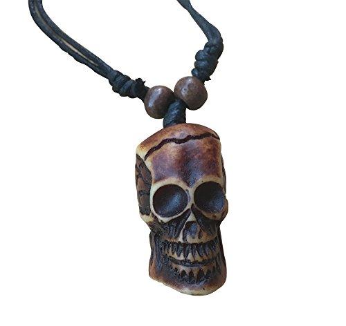 SUNSIN Skull Head Chief Wood Pendant Adjustable Cord Necklace Vintage Bone Tribal Bead - Bone Necklace Mens