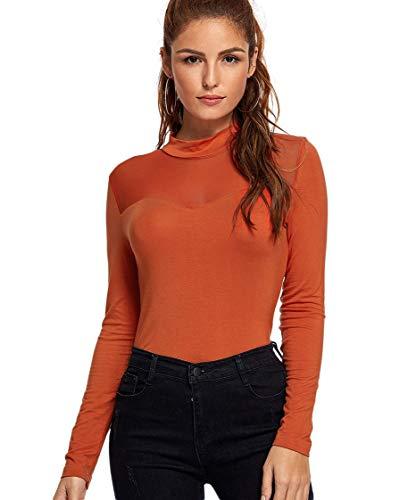 SheIn Women's Long Sleeves Slim Fit See-Through Mesh Top Medium Rust