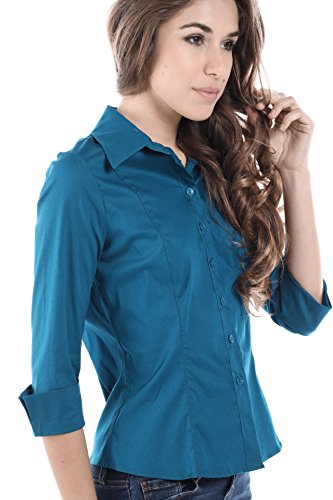Fashion Magazine Women's Button Down Uniform Shirts, Made in USA (Large, Teal) (Best Magazines In Usa)