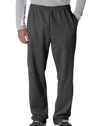Pocket Straight Leg Trousers - Jerzees 8 oz., 50/50 NuBlend Open-Bottom Sweatpants L BLACK HEATHER