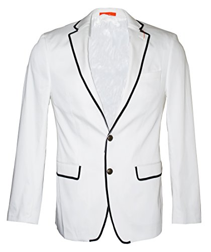 Tallia Men's Vogue Slim Fit Contrast Trim Sport Coat, Blazer (38R, White)