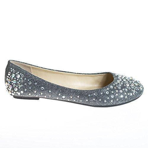Image of Women's Round Toe Ballet Flats with Iridescent Rhinestone Studs on Glitter Vamp