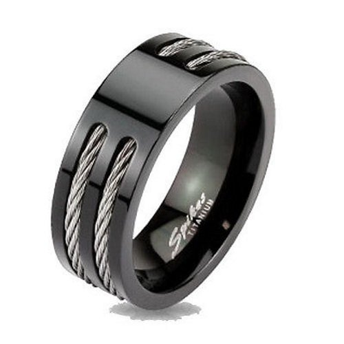 Black Ip Titanium Mens Rope Cable Inlay Wedding Band Ring 9