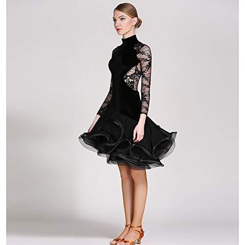 Danza Palcoscenico Black Xhtw E Abiti Inverno Latino Lunghe Elegante Concorrenza amp;b Esame Di Festa Donna Maniche Vestito Gonna Costumi Flessibile Autunno LqUpGzVSM