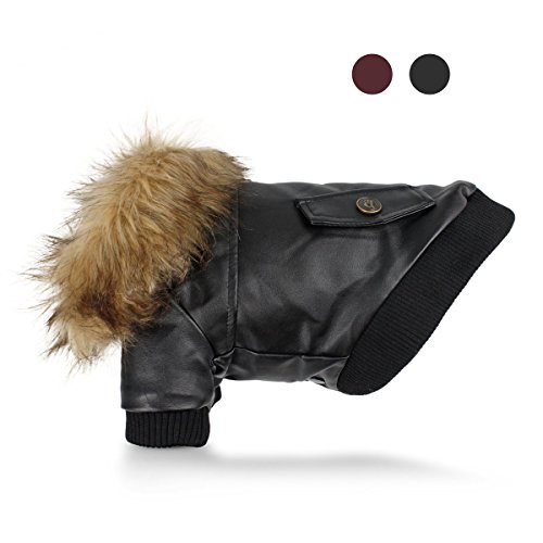 (GabeFish Pets PU Leather Fashion Fur Collar Hoody Warm Thick Jacket Coat For Dogs Cold Weather Waterproof Clothes Black Large)