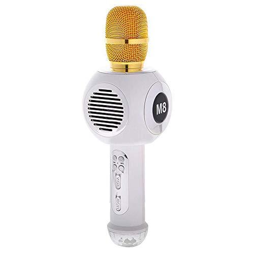 HM2 Wireless Karaoke Microphone USB Speaker Colored Light Microphone Wireless Bluetooth KTV Speaker Microphone Condenser,A4