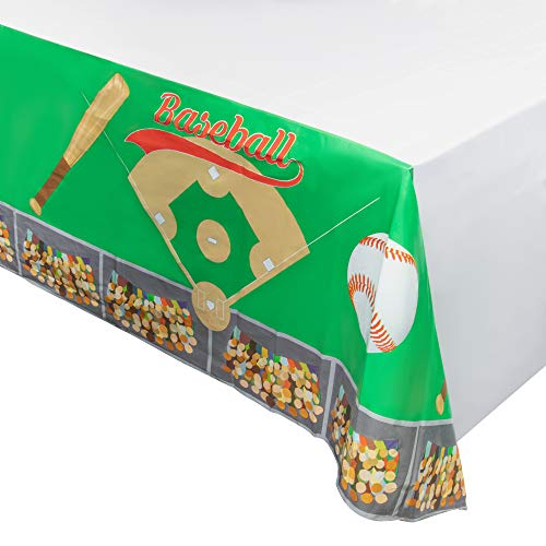 Juvale Baseball Plastic Tablecloth - 3-Pack 54 x 108-Inch Baseball Field Stadium Disposable Table Cover, Fits up to 8-Foot Long Tables, Game Day Party Decoration Supplies, 4.5 x 9 Feet