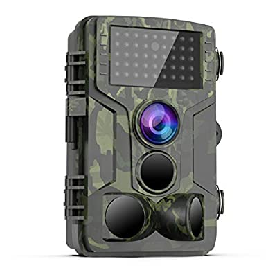 [Latest 2019] Trail Game Camera – 1080P FHD Waterproof Scouting Camera, 120°Wide Angle PIR Sensor Motion Activated Night Vision, Hunting Cam for Wildlife and Home Surveillance