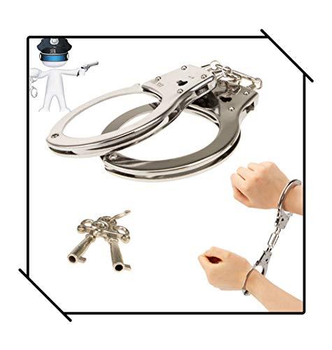SmartRing Esposas Metalicas con Llaves, Apto para Ninos Mayores de 10 Anos de Edad o Adultos-Juguete Accesorios Traje de los Apoyos de la Policia