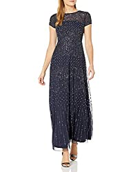 Navy Short-Sleeve Fully Beaded Gown