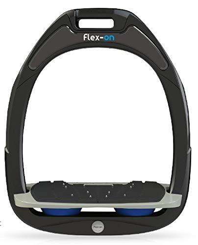 【 限定】フレクソン(Flex-On) 鐙 ガンマセーフオン GAMME SAFE-ON Mixed ultra-grip フレームカラー: ブラック フットベッドカラー: グレー エラストマー: ブルー 06340   B07KMNTWVN