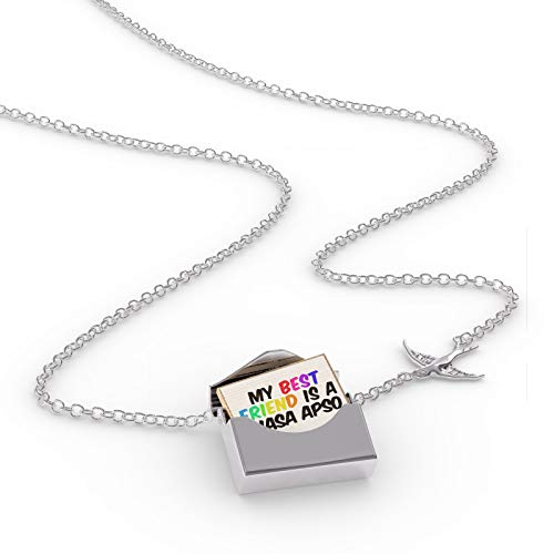 NEONBLOND Locket Necklace My Best Friend a Lhasa Apso Dog from Tibet in a Silver ()