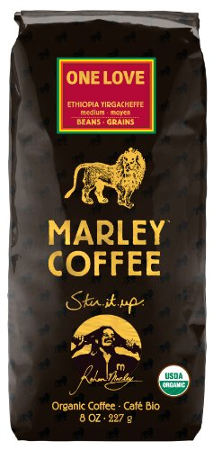 Marley Coffee, Organic One Love, Ethiopian YirgaCheffe, Whole Bean Coffee, 8 Ounce