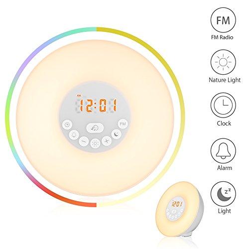 Wake Up Light Alarm Clock Sunrise Simulation Bedside Lamp Sunset Night Light 6 Nature Sounds FM Radio Snooze 7 Colors Light