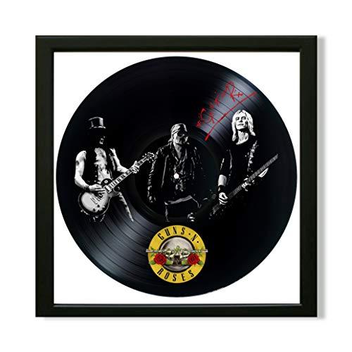 SofiClock Guns N Roses Framed Decor Vinyl 13.8x13.8 - Guns N' Roses Hard Rock Band Unique Wall Art Decor - Best Gift for Hard Rock Music Lover - Original Wall -