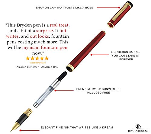 DRYDEN Fine Nib Fountain Pen [DANGEROUS RED WITH GIFT BOX] - BEST Fountain Pens Gift Set - Smooth Elegant Writing - Calligraphy - FREE Ink Refill Converter