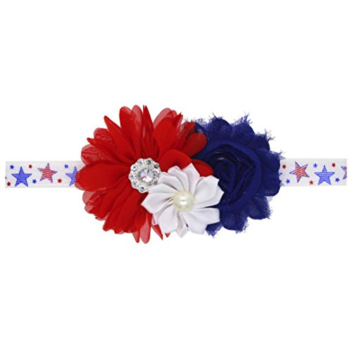 YJYdada Newborn Baby Girls 4th Of July Star Stripe Flowers Elastic Hairband Headband (C)