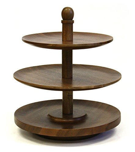 Mountain Woods 3 Tier Acacia Wood Lazy Susan Tabletop Serving Tray