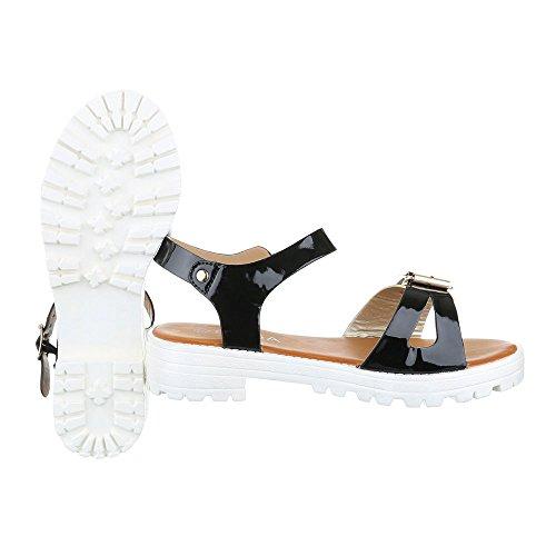 Ital-Design Komfortsandalen Damen Schuhe Römersandalen Blockabsatz Leichte Schnalle Sandalen/Sandaletten Schwarz Gold
