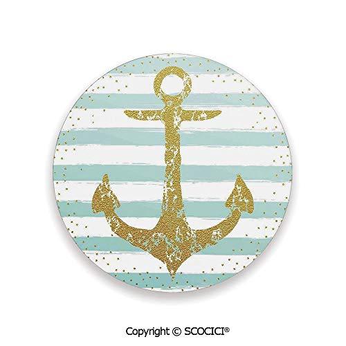 Ceramic Coaster With Cork Mat on the back side, Tabletop Protection for Any Table Type, round coaster,Anchor Decor,Nordic Marine Golden Anchor Striped ()