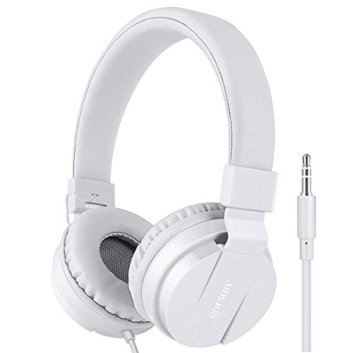 Kids Headphones, gorsun Lightweight Stereo Foldable Wired Headphones Volume Limited for Kids Adults Adjustable Headband Headset for Cellphones Smartphones iPhone Laptop Computer Mp3/4 Earphones(White)