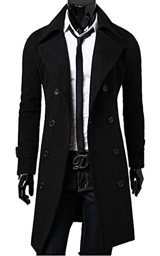 Gabbriell Men's Stylish Double Breasted Slit Back Trench Coat Long Jacket](Mens Winter Tweed Coat)