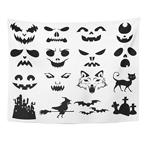 Emvency Wall Tapestry Face of Halloween Pumpkins Carved