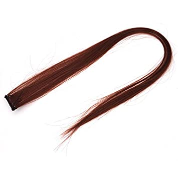 La fibra sintética eDealMax Recto Mujer de bricolaje peluca de Pelo Largo, marrón, 21.2