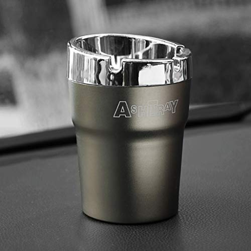 ZXW Ashtrays - Stainless Steel Multi-Function Windproof car Ashtray (Color : Gray, Size : 10.5x7.8x6cm) -