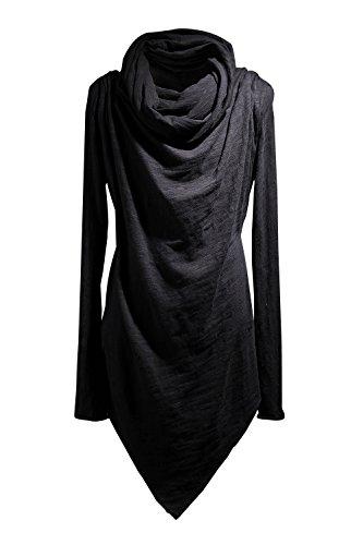 (ByTheR Men's Social Best Large Cowl-Neck Unique Niche T-Shirts One Size Black)