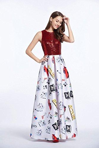 Pailletten Beauty Abendkleid Arm Mehrfarbig Linie Emily A O Rot Maxi Ansatz Ohne nBrXq1wB