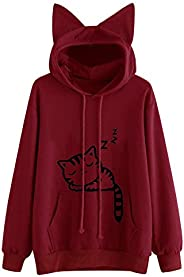 YSLMNOR Cat Sweatshirts for Teen Girls Cute Long Sleeve Hoodie with Pocket Casual Pullover Tops