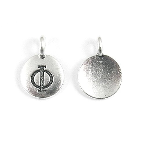 - TierraCast Pewter Greek Letter Charms-SILVER ROUND PHI 12x16mm (2)